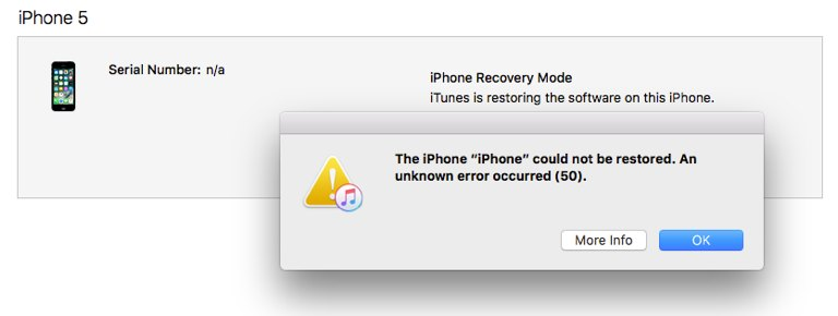 Ошибка 50 — не удалось восстановить iPhone.
