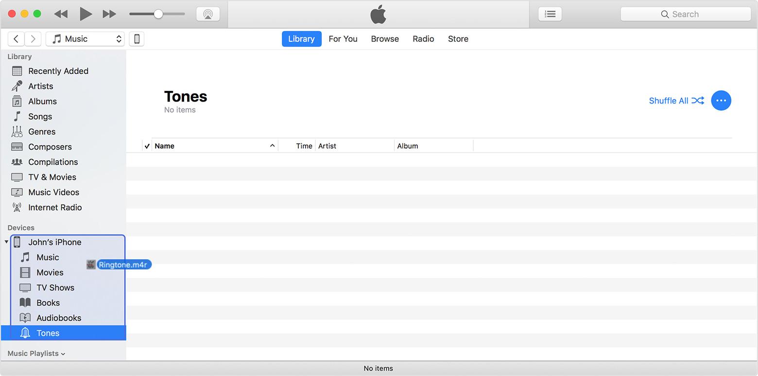 Перетаскивание мелодий из Finder на iPhone через iTunes