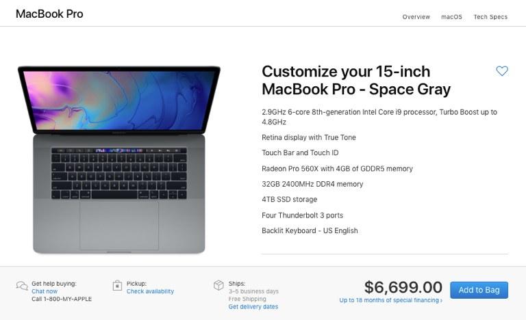 """MacBook Pro 2018 15"""" максимальная конфигурация"""
