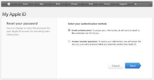 Сменить пароль Apple ID