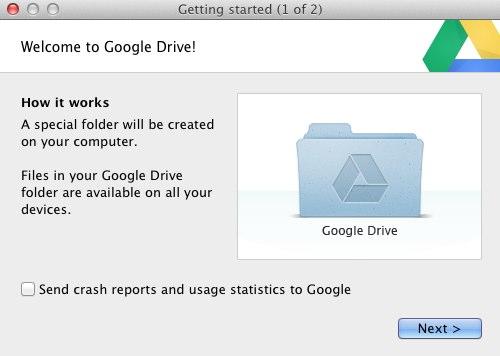 Google drive первый запуск