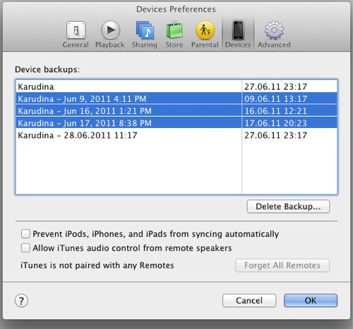 Itunes delete backups